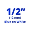 "Brother TZe233 Blue on White Laminated Tape for Indoor and Outdoor Use 12mm x 8m (1/2"" x 26'2"")"