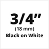 "Brother TZe241 Black on White Laminated Tape for Indoor and Outdoor Use 18mm x 8m (3/4"" x 26'2"")"
