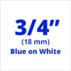 "Brother TZe243 Blue on White Laminated Tape for Indoor and Outdoor Use 18mm x 8m (3/4"" x 26'2"")"