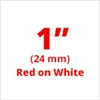 "Brother TZe252 Red on White Laminated Tape for Indoor and Outdoor Use 24mm x 8m ( 1"" x 26'2"")"