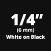 "Brother TZe315 White on Black Laminated Tape for Indoor and Outdoor Use 6mm x 8m (1/4"" x 26'2"")"