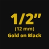 "Brother TZe334 Gold on Black Laminated Tape for Indoor and Outdoor Use 12mm x 8m (1/2"" x 26'2"")"