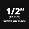 "Brother TZe335 White on Black Laminated Tape for Indoor and Outdoor Use 12mm x 8m (1/2"" x 26'2"")"