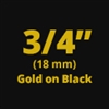 "Brother TZe344 Gold on Black Laminated Tape for Indoor and Outdoor Use 18mm x 8m (3/4"" x 26'2"")"