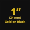 "Brother TZe354 Gold on Black Laminated Tape for Indoor and Outdoor Use 24mm x 8m ( 1"" x 26'2"")"