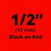 "Brother TZe431 Black on Red Laminated Tape for Indoor and Outdoor Use 12mm x 8m (1/2"" x 26'2"")"