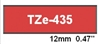 "Brother TZe435 White on Red Laminated Tape for Indoor and Outdoor Use 12mm x 8m (1/2"" x 26'2"")"