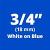 "Brother TZe545 White on Blue Laminated Tape for Indoor and Outdoor Use 18mm x 8m (3/4"" x 26'2"")"