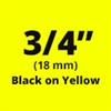 "Brother TZe641 Black on Yellow Laminated Tape for Indoor and Outdoor Use 18mm x 8m (3/4"" x 26'2"")"
