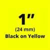 "Brother TZe651 Black on Yellow Laminated Tape for Indoor and Outdoor Use 24mm x 8m ( 1"" x 26'2"")"