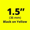 "Brother TZe661 Black on Yellow Laminated Tape for Indoor and Outdoor Use 36mm x 8m (1 1/2"" x 26'2"")"