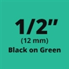 "Brother TZe731 Black on Green Laminated Tape for Indoor and Outdoor Use 12mm x 8m (1/2"" x 26'2"")"