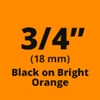 "Brother TZeB41 Black on Fluorescent Orange Laminated Tape for Indoor and Outdoor Use 18mm x 5m (3/4"" x 16'4"")"