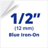 "Brother TZeFA3 Blue on White Fabric Iron On Tape 12mm x 3m (1/2"" x 9'8"")"