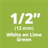 "Brother TZeMQG35 White Print on Lime Green Laminated Tape for Indoor and Outdoor Use 12mm x 5m (1/2"" x  16'4"")"