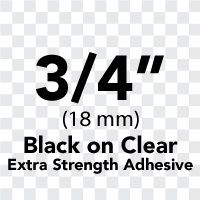 "Brother TZeS151 Black on Clear Laminated Tape with Extra Strength Adhesive 24mm x 8m (1"" x 26'2"")"