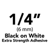 "Brother TZeS211 Black on White Laminated Tape with Extra Strength Adhesive 6mm x 8m (1/4"" x 26'2"")"