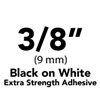 "Brother TZeS221 Black on White Laminated Tape with Extra Strength Adhesive 9mm x 8m (3/8"" x 26'2"")"