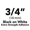 "Brother TZeS241 Black on White Laminated Tape with Extra Strength Adhesive 18mm x 8m (3/4"" x 26'2"")"