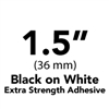 "Brother TZeS261 Black on White Laminated Tape with Extra Strength Adhesive 36mm x 8m (1 1/2"" x 26'2"")"