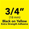 "Brother TZeS641 Black on Yellow Laminated Tape with Extra Strength Adhesive 18mm x 8m (3/4"" x 26'2"")"