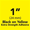 "Brother TZeS651 Black on Yellow Laminated Tape with Extra Strength Adhesive 24mm x 8m (1"" x 26'2"")"
