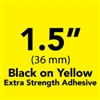 "Brother TZeS661 Black on Yellow Laminated Tape with Extra Strength Adhesive 36mm x 8m (1 1/2"" x 26'2"")"