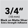 "Brother TZeS941 Black on Matte Silver Laminated Tape with Extra Strength Adhesive 18mm x 8m (3/4"" x 26'2"")"