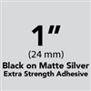 "Brother TZeS951 Black on Matte Silver Laminated Tape with Extra Strength Adhesive 24mm x 8m (1"" x 26'2"")"