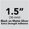 "Brother TZeS961 Black on Matte Silver Laminated Tape with Extra Strength Adhesive 36mm x 8m (1 1/2"" x 26'2"")"